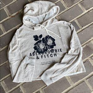 NWOT Abercrombie Crop Hoodie Raw Hem